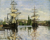Claude Monet Ships at anchor on the Seine