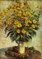 Claude Monet Vase of chrysanthemums