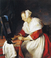 Gabriel Metsu A Woman at her Mirror