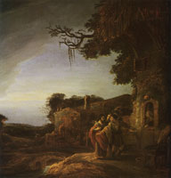 Govert Flinck Christ and his disciples arrive at the inn of Emmaus