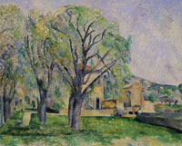 Paul Cézanne Chestnut trees and farm at the Jas de Bouffan