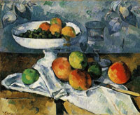 Paul Cezanne Still Life with Bowl, Glass, knife, Apples, and Grapes