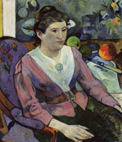Paul Gauguin Portrait of a Woman with Still Life by Paul Cezanne