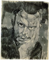 Paul Klee Self-portrait full face, resting head in hand