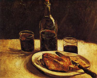 Vincent van Gogh Still life with a plate, glasses and a wine bottle