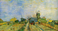 Vincent van Gogh Vegetable gardens in Montmartre and the Moulin de Blute-Fin