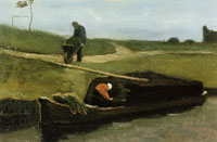 Vincent van Gogh Peat Boat with Two Figures