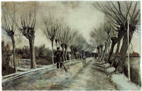 Vincent van Gogh Road with Pollard Willows and Man with Broom