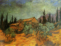Vincent van Gogh Sheds between Olive Trees and Cypresses