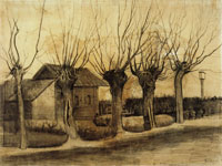 Vincent van Gogh Small House on a Road with Pollard Willows