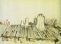 Vincent van Gogh Tiled roof with chimneys and church tower