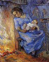 Vincent van Gogh Woman Sleeping near a Fire