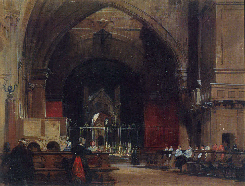 Richard Parkes Bonington - Milan: Interior of Sant' Ambrogio