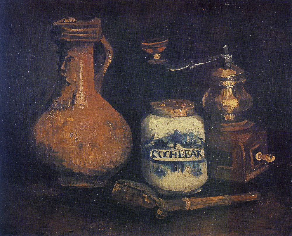 Vincent van Gogh - Still life with a bearded-man jar and coffee mill