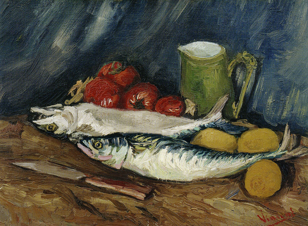 Vincent van Gogh - Still life with mackerels, lemons, and tomatoes