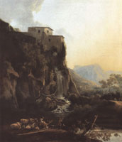 Adam Pijnacker Mountain Landscape with a Waterfall