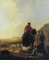 Ascribed to Aelbert Cuyp - A Shepherd with his Flock