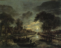Aert van der Neer - Canal landscape by night