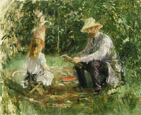 Berthe Morisot Eugene Manet and his Daughter in the Garden
