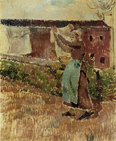 Camille Pissarro Woman hanging laundry