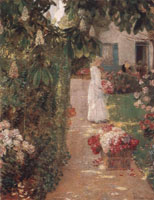 Childe Hassam Gathering Flowers in a French Garden
