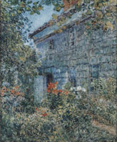 Childe Hassam Old house and garden, East Hampton
