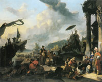 Johannes Lingelbach Scene at a Harbour