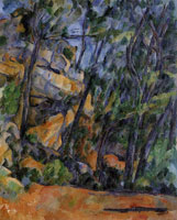 Paul Cézanne Trees and rocks in the park of the Château Noir