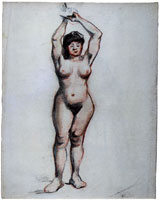 Vincent van Gogh Female Nude, Standing with Raised Arms