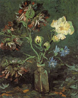 Vincent van Gogh Vase with myosotis and peonies