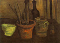 Vincent van Gogh Still life with paintbrushes in a pot