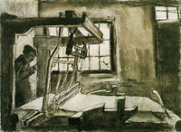 Vincent van Gogh Interior with a Weaver Facing Right