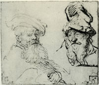 Rembrandt Two Studies of Old Men's Heads