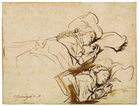 Rembrandt Two Studies of Saskia Asleep in Bed