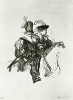 Rembrandt Two Mummers on Horseback