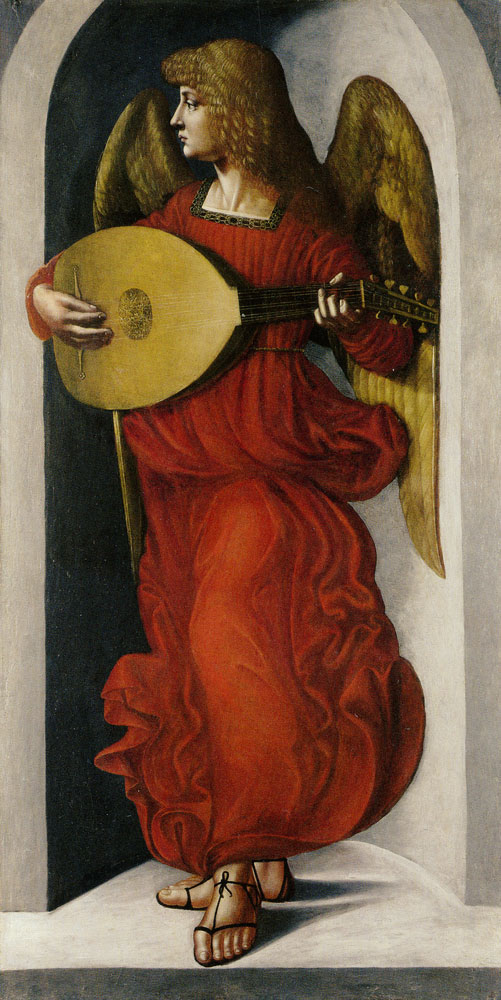 Giovanni Ambrogio de Predis - An Angel in Red with a Lute