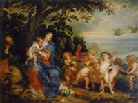 Anthony van Dyck and Pauwel de Vos The Rest on the Flight into Egypt (The Madonna with Partridges)