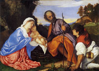 Titian - The Holy Family and a Shepherd