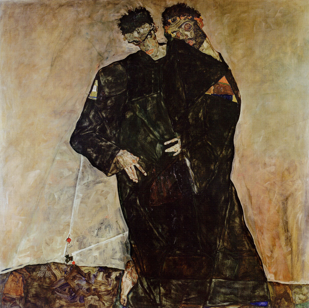 Egon Schiele - The Hermits (Self-portrait with Gustav Klimt)