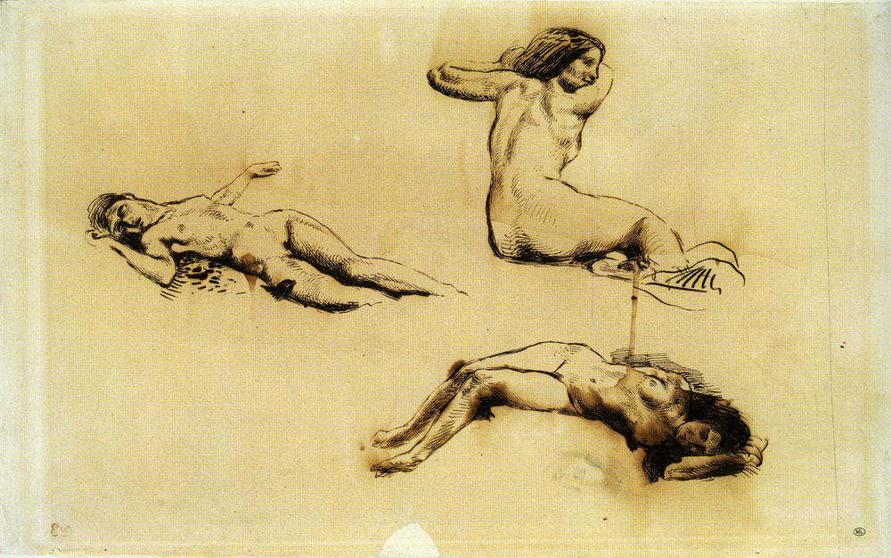 Eugène Delacroix - Three Studies of a Nude Woman Reclining and Sketch of a Head
