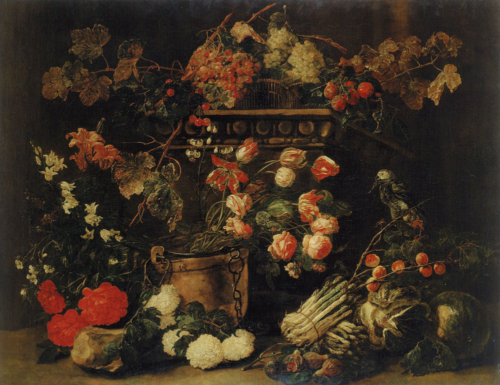 Jan Fyt - Still Life with Flowers, Fruit and a Parrot