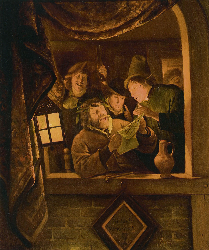 Jan Steen - The Rhetoricians of Warmond by Candlelight