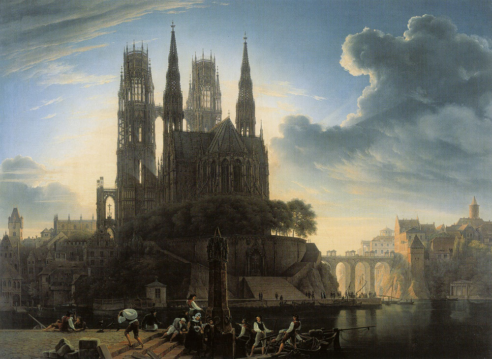 Wilhelm Ahlborn after Karl Friedrich Schinkel - Gothic Cathedral by the Water