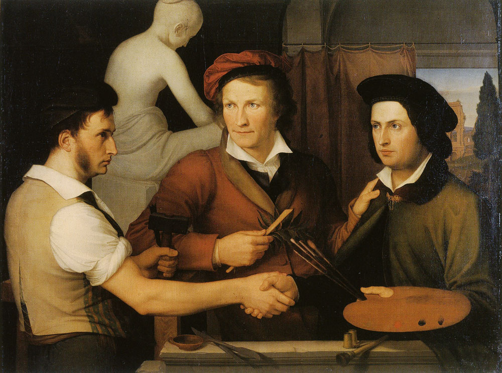 Wilhelm Schadow - Self-Portrait with Brother Ridolfo Schadow and Bertel Thorvaldsen