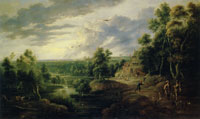 Lucas van Uden and David Teniers the Younger Landscape with Trees in a River Valley