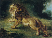 Eugène Delacroix Lion Stalking Its Prey