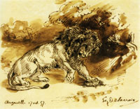Eugène Delacroix Lion Playing with a Tortoise