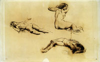 Eugène Delacroix Three Studies of a Nude Woman Reclining and Sketch of a Head