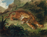 Eugène Delacroix Tiger Startled by a Snake