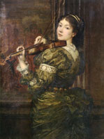George Frederick Watts - Blanche, lady Lindsay, Playing the Violin